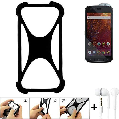 K-S-Trade® Handyhülle Für Caterpillar Cat S61 Schutzhülle Bumper Silikon Schutz Hülle Cover Case Silikoncase Silikonbumper TPU Softcase Smartphone, Schwarz (1x), Headphones