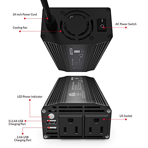 BESTEK 300W Power Inverter DC 12V to 110V AC Car Inverter with 4.2A Dual USB Car Adapter (Black)