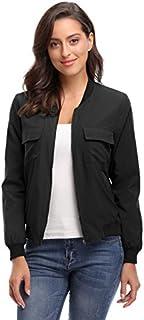 MISS MOLY Women's Lightweight Jackets Zip Up Coat Rib Collar Multi-Pockets Windbreaker Bomber Jacket Outwear