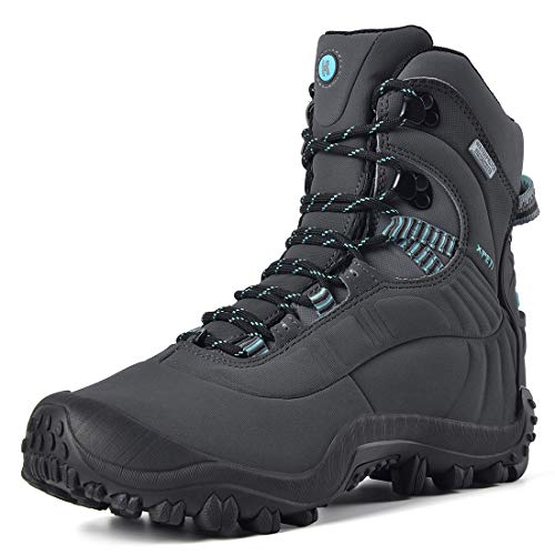Manfen Women's Hiking Boots Lightweight Waterproof Hunting Boots, Ankle Support, High-Traction Grip, Gray/Sky Blue, 8.5