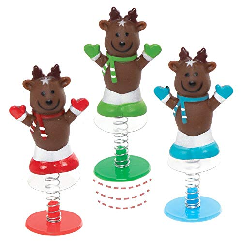Baker Ross AX512 Reindeer Jump Up Toys - Pack of 6, Novelty Toys for Children, Ideal Party Bag Fillers and Small Gifts for Kids