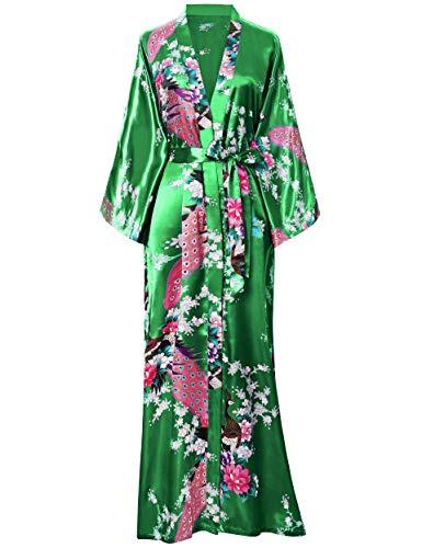 BABEYOND Damen Morgenmantel Maxi Lang Kimono Strandkleid Pfau Gedruckt Strickjacke Kimono Bademantel Damen Lange Robe Schlafmantel Girl Pajama Party (Grün)