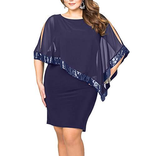 Ancapelion  Damen Kleid Minikleid Chiffon Cocktailkleid Pailletten Pencil Partykleid Lässige Kleidung Abendkleid Frauenkleid Kleid, XL, Blau-übergröße