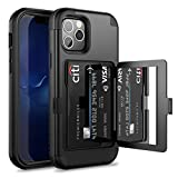 WeLoveCase for iPhone 12 Pro Max Wallet Case with Credit Card Holder & Hidden Mirror, Three Layer Shockproof Heavy Duty Protection Cover Protective Case for iPhone 12 Pro Max - 6.7inch Black