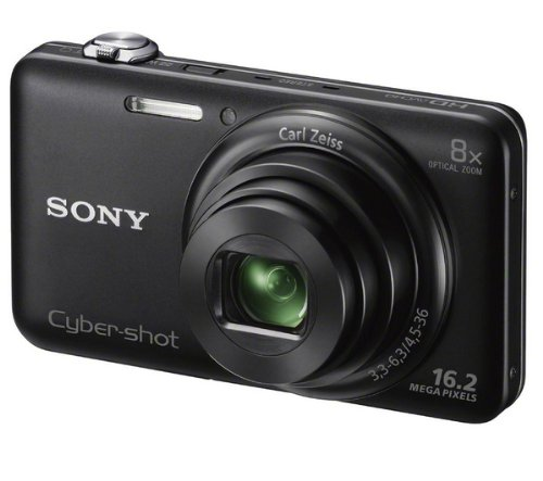 SONY DSC-WX80 - Schwarz + Fototasche Kompaktkamera + Lithium-Akku NP-BN1 + SDHC-Speicherkarte Premium Series - 16 GB Class 10 (LSD16GBBEU200)