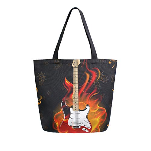 BIGJOKE Canvas Tragetasche Musiknoten Gitarre Große Frauen Casual Schultertasche Handtasche Wiederverwendbar Einkauf Lebensmittel Tragbare Aufbewahrungstasche für Outdoor