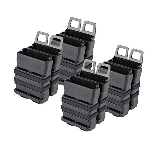 EFOSE Fast Mag Pouch, Double Magazine Holster 5.56 for MOLLE System (Plastic Polymer, Black, Pack of 1 or 2 or 4) (4)