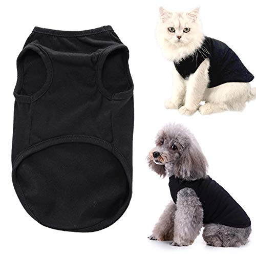 CAISANG Dog Shirts Puppy Clothes for Small Dogs Boy, Pet T-Shirts Doggy Vest Apparel, Comfortable Summer Shirts Beach Wear Clothing, Outfits for Medium Dog, Kitty Cats, Soft Cotton Tops ((Black XL)