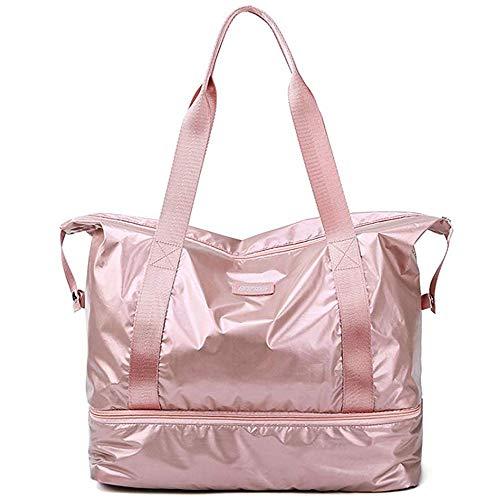 Namio スポーツバッグ ジムバッグ レディース ボストンバッグ 大容量 軽量 防水 靴入り 旅行 ゴルフ用バッグ 乾湿分離 男女兼用 (ピンク)