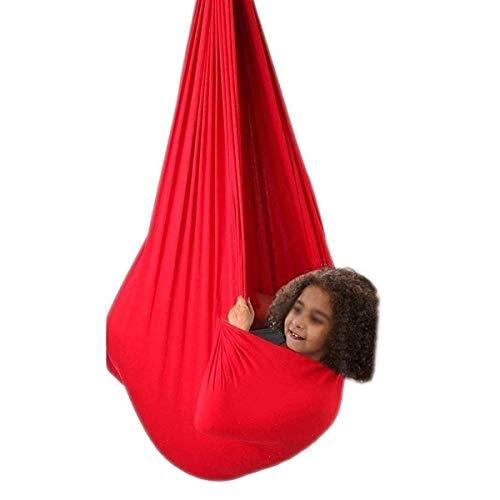 LHHL Indoor Therapie sensorische Schaukel für Kinder, elastisch, Anti-Schwerkraft-Yoga-Schaukel, Indoor-Hängematte für Kinder mit Autismus, ADHS, Aspergers (Farbe: Rot, Größe: 100 x 280 cm)