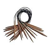 perfeclan Juego de 13 Pares de Agujas de Tejer Circulares, Agujas de Tejer de bambú de Primera Calidad con Tubo Negro, 13 tamaños: 2,75 mm - 10 mm, 31,5