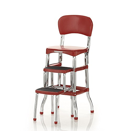Cosco Retro Counter Chair/Step Stool, Sliding, Red