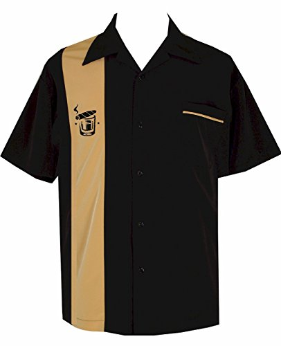 BeRetro Cigar Embroidered Retro Lounge Camp Men's Shirt ~ Cuban Black