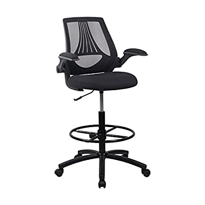 LCH Ergonomic Drafting Stool Chair/Tall Mesh Office Chair Adjustable Height with Arms,Tall Office Chair for Adjustable Standing Desks