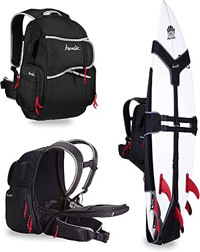 Koraloc Surf Backpack - Hands Free Surfboard Bag, Holds Up to 3 Boards for Easy Travel