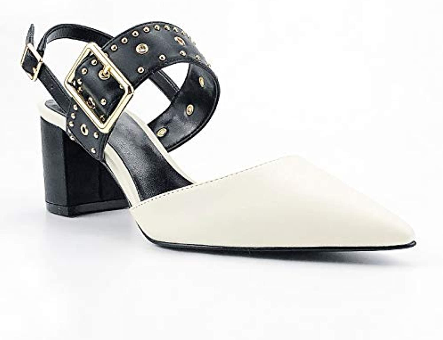 T-JULY White Sandals Fashion Women shoes Office Lady Square 6cm Middle Heels Buckle Strap Comfortable Female Pumps