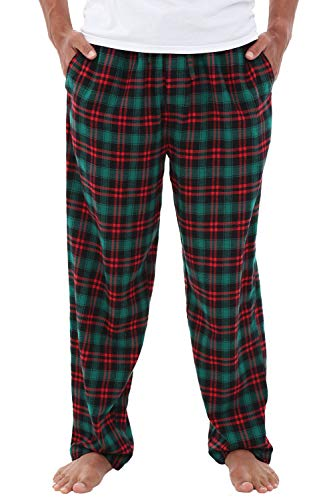 Alexander Del Rossa Men's Lightweight Flannel Pajama Pants, Long Cotton Pj Bottoms, Large Green and Red Even Plaid (A0705W18LG)
