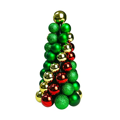 Sunlit 10'' Christmas Ball Ornaments Tree, Christmas Decorations BallsTree, Mini Artificial Christmas Tree, Home and Office Tabletop Decor, Indoor Fireplace Decoration, Glitter Green Red Gold