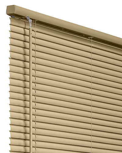 CHICOLOGY Horizontal Venetian Slat Window Shade Cordless 1-Inch Vinyl Mini Blinds Gloss Cappuccino 58 X 64 58'W X 64'H Commercial Grade