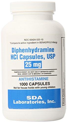 SDA Laboratories Diphenhydramine Capsules, 25mg, 1000 Count