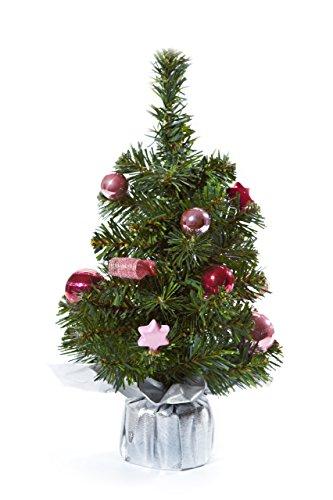 HEITMANN DECO Albero di NataleDecorato –Piccolo Albero di Natale Artificiale, con addobbi –Rosa, Fucsia, Argento– Albero in plastica