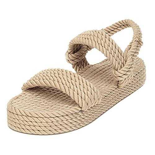 éTé Chaussure Femme Sandale, Sandales BohèMes pour Femmes Plate-Forme Plate en Corde de Lin Femme à Bout Ouvert Chaussures à Enfiler, Sandales Plateforme Femme