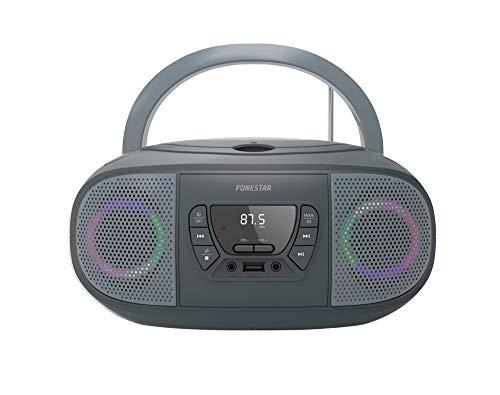 RADIO CD FONESTAR BOOM-GO-G GRIS 4W RMS BLUETOOTH FM USB/MP3 AUX IN SALIDA AURICULARES EFECTOS LUMINOSOS