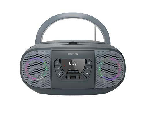 RADIO CD FONESTAR BOOM-GO-G GRIS 4W RMS BLUETOOTH FM USB/MP3 AUX IN SALIDA AURICULARES EFECTOS LUMINOSOS