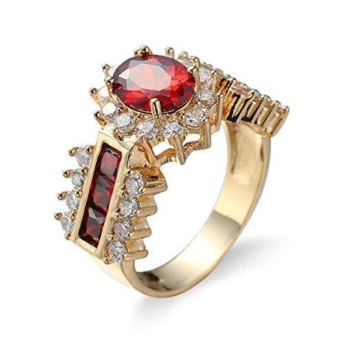 Daesar Anillos de Compromiso Mujer Baratos,Chapado en Plata Anillo Oro Rojo Flor Cristal con Circonita Rojo Talla 12