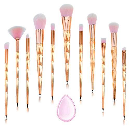 Pinceaux Maquillage 11 PCS rose Diamant poignée pinceau de maquillage ensemble fond de teint Blush fard à paupières visage poudre Pinceau de maquillage avec Silicone composent éponge (Or rose)