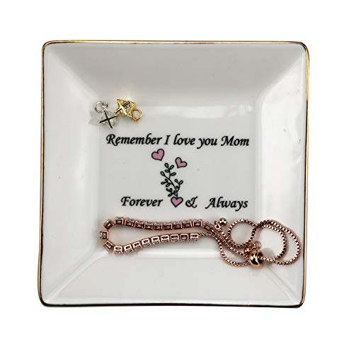 Ceramic Jewelry Tray Ring Dish Decorative Trinket Plate -Great Gift for Mom or Lover (Love mom)
