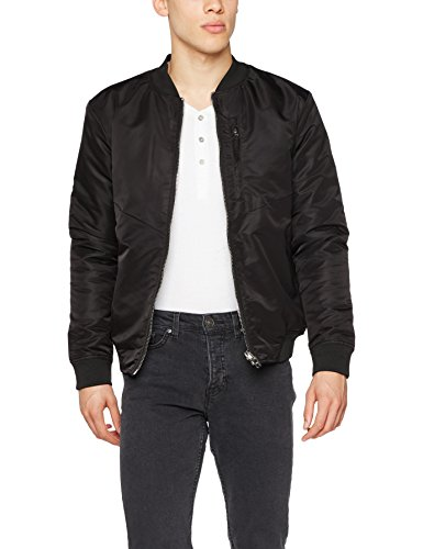 JACK & JONES Herren JCOEIGHT Bomber Jacke, Schwarz (Black Detail:One Fit - Camo Inside), Large