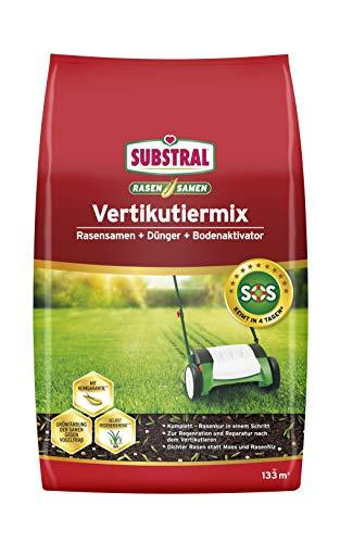 Substral Vertikutiermix Rasenreparatur-Mischung aus Rasensamen, Rasendünger und Bodenaktivator, für 133 m² kg, 4 kg Sack