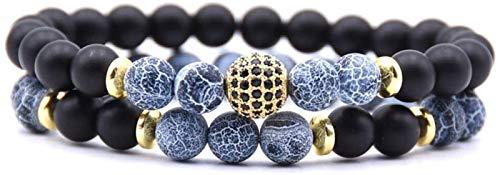 Pulsera de Piedra Mujer, 7 Chakra Natural Blue GRIET Stone Bangle Brazalete Elástico Yoga Lucky Bracelet Zircon Bola de Oro Joyería para Damas Regalo de Pareja de Navidad