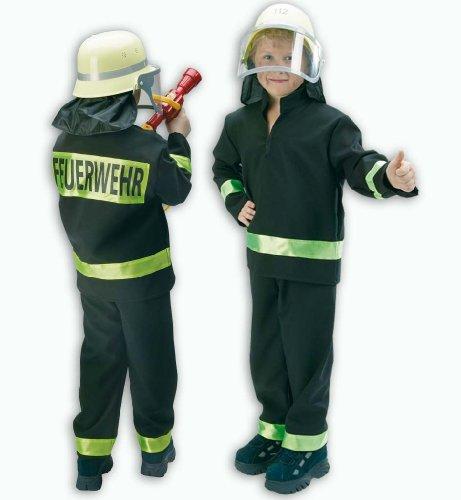 FASCHING 11319 Kinder- Kostüm Feuerwehrmann schwarz 2tlg., Feuerwehr: Größe: 104