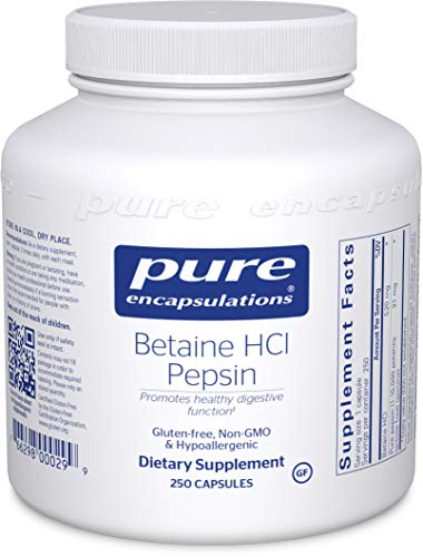 Pure Encapsulations Betaine HCl Pepsin | Digestive Enzyme Supplement for Digestive Aid and Support, Stomach Acid, and Nutrient Absorption* | 250 Capsules