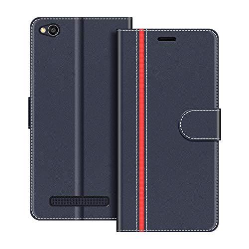 COODIO Handyhülle für Xiaomi Redmi 4A Handy Hülle, Xiaomi Redmi 4A Hülle Leder Handytasche für Xiaomi Redmi 4A Klapphülle Tasche, Dunkel Blau/Rot