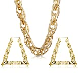 Hanpabum Gold Plated Chunky Rope Chain Necklace and Large Hollow Casting Triangle Bamboo Hoop Earrings Set for Men Women Costume Jewelry Punk Hip Hop Rapper Style (A:Triangle)
