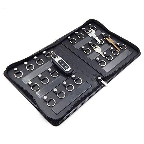 OFFIDIX Portable Zippered Key Case,Leather Portable Key Cabinet 24 Key Hooks Key Organizer,Manager & Landlord Key Holder, Business Padfolio for Real Estate Sales,Hotel Executives, Car Service