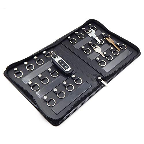 OFFIDIX Portable Zippered Key Case,Leather Portable Key Cabinet 24 Key Hooks Key Organizer,Manager & Landlord Key Holder, Business Padfolio for Real...