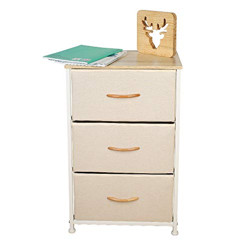 Home Dresser|Storage Organizer|Storage Tower|Wood Top|Removable Drawers|Non-Woven Synthetic Fabric|Height Adjustable Feet|Organizer Unit for Bedroom,LivingRoom,Hallway,Entryway (3 Drawers -Beige)