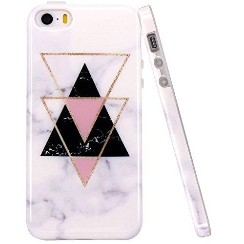 JIAXIUFEN Oro Triangolo Marmo Design TPU Gel Silicone Protettivo Skin Custodia Protettiva Shell Case Cover Compatibile con iPhone 5 5S SE