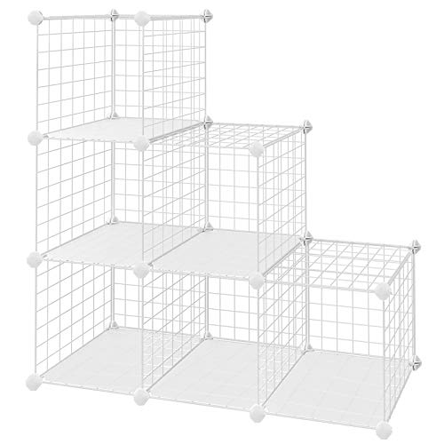 "SONGMICS Metal Wire Cube Storage,6-Cube Shelves Organizer,Stackable Storage Bins, Modular Bookcase, DIY Closet Cabinet Shelf, 36.6""L x 12.2""W x 36.6""H, White"