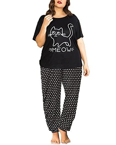 tmtonmoon Pijamas de Mujer de Gran tamaño Ropa de Dormir Ropa de Dormir Conjunto de Pijama de...