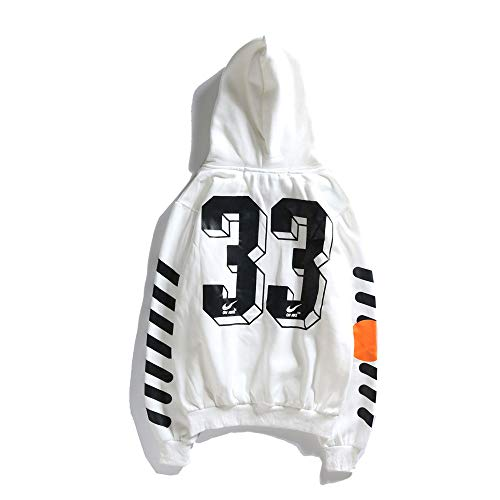 QYS Sudadera con Capucha Off OW Logo Cotton Pullover para Hombres//Mujeres,White,M