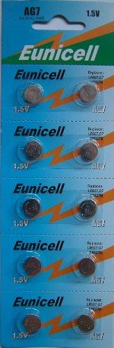 Eunicell AG7 Alkaline Knopfzellen / Batterien, G7 LR57 LR57SW LR926 LR926SW SR926W L926E LR927 LR927SW 395 399, 10 Stück