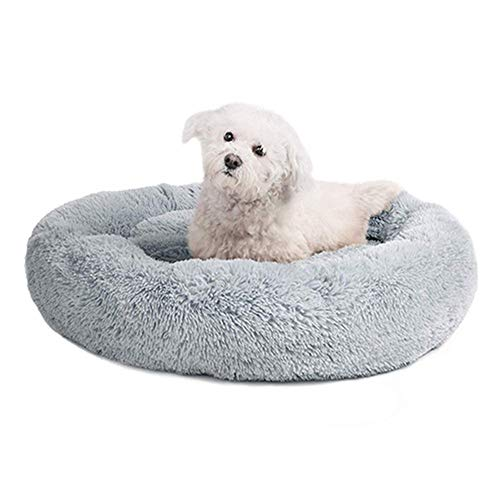 FENXIMEI Schlafliege Mat Welpen Kennel Haustier-Bett-Maschine waschbar Runde Hundebett for Hundekatze Winter warm (Farbe : Grau, Size : 60cm diameter)