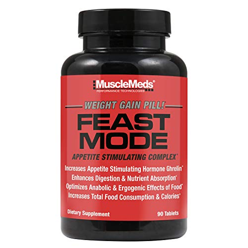 MuscleMeds Feast Mode Appetite Stimulant Weight Gain Pills Digestive Enzymes Safe and Effective 90 Caps, Unflavored, 1 Count