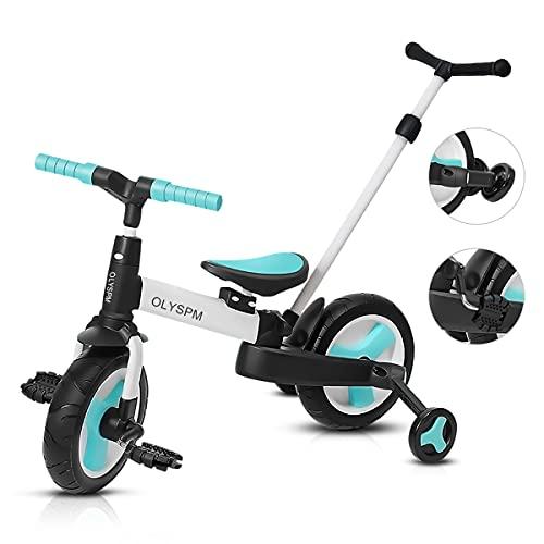 OLYSPM 5 en 1 Triciclo Bebé Plegables Bicicleta sin Pedales para 1-6 Años Niños,Triciclo para Bebes con Pedales Desmontables y Ruedas Auxiliares,Triciclo Evolutivo(Azul Claro)