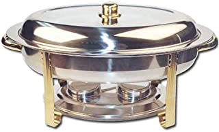 Winware 6 Quart Oval Stainless Steel Gold Accented Chafer